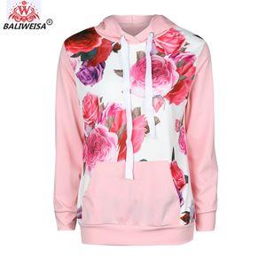 BALIWEISA de lã com capuz Mulheres Floral Impresso Doce Pullover Jacket Brasão soltos bolso capuz mangas compridas Outono Inverno