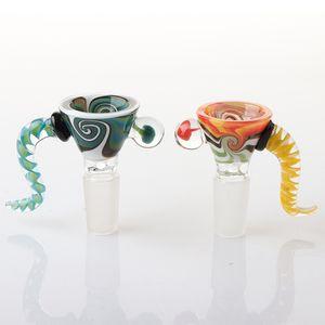 Nuovo di alta qualità US Colore parrucca Wag 14mm maschio ciotole di vetro per il tabacco Bong ciotola pezzo di acqua Bong Dab olio Rigs tubi di fumo