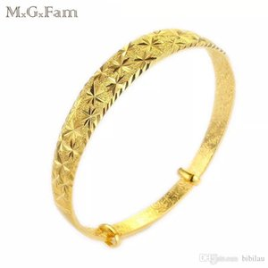 MGFam (87BA) Traditional Style Frosted Flower Pattern Bangles and Bracelets for Bridal Wedding Jewelry 24k Gold Plated