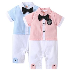 Baby Boy Gentlemen Jumpsuit Toddler Bow Tie Party Wedding Birthday Costume Baby Rompers 8sets lot