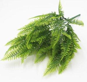 Vaso fiore che piantano Materiale di simulato verde felce Piantare 7-forchetta di plastica persiana Erba Felce 20pcs / lot W1203