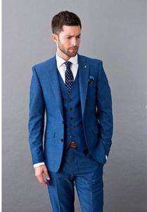 Модные синие смокинги с отворотами с надписью Slim Fit Мужские свадебные смокинги Отличный мужской пиджак Блейзер Костюм из 3-х частей (куртка + брюки + жилет + галстук) 892