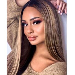 Ombre Blonde Brown Highlights 13x6 renda frente cabelo humano Perucas Com Cabelo De Bebé cabeleira brasileira cheia perucas 360 Rendas Frente linha de Cabelo Natural