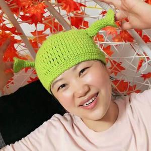 Симпатичные Шрек Смешные мужчины Hat Вязание Зеленый монстр Skullies Hat с ушками Hat Winter Новизна Beanie Skullies Женщины Мужчины Halloween Party Любимых Шляпы