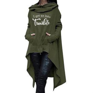 Harfler Baskı Kadınlar Için Uzun Düzensiz Tişörtü Hoodies Femmes Hoodies Tops Gevşek Kadın Komik Pamuk Toka Sonbahar
