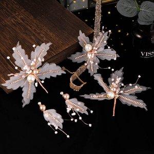 Ювелирные FORSEVEN фея кристалл искусственного жемчуга ожерелье Шпильки серьги невесты Noiva Свадеб Аксессуары для волос