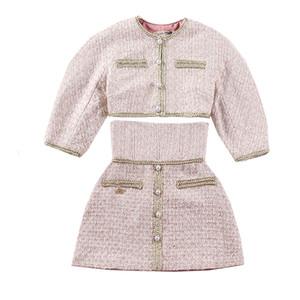 Le Palais Vintage 2018W Классическая твидовая короткая куртка и стройная юбка-лайн с высокой посадкой из двух частей Костюмы-линии Dazzle Rhinestone