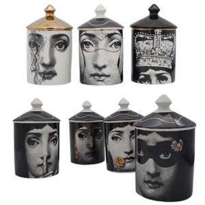 Vintage Fornasetti sostenedor de vela de los candelabros rostro humano mano de cerámica tarro de almacenamiento Tocador titular de la pluma Decoración del ornamento T200108