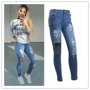 Namorado Furo rasgado Calças Jeans mulheres frescos Denim Vintage Hetero Jeans para a menina de cintura alta calças Casual fêmea magro Jeans