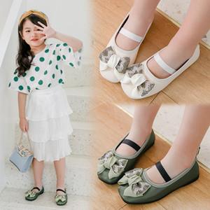 2020 New Girls shoes Children Princess Shoes kids Soft bottom single for dance chaussure fille 3 4 5 6 7 8-14Т бежевый зеленый