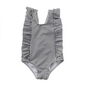 Neugeborenes Baby Body Baby-Baby-Sommer-Falten Rüschen Streifen gedruckt Ärmel Overall Mädchen-Quadrat-Kragen Zurück V-Overall