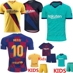 MAN + KIDS 2019 20 برشلونة ميسي جيرسي لكرة القدم الفانيلة SUAREZ MALCOM مايوه دي القدم بالقميص البقاع ديمبيلي DE JONG GRIEZMANN