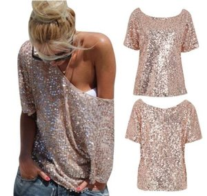 T-shirts pour femmes Sexy Ladies Off épaule Sequin Top Party Streetwear Automne Casual T-shirts loose camiseta mujer