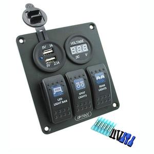 Pannello interruttore a bilanciere a 3 gang con presa di corrente 3.1A Kit di cablaggio doppio USB DC12V / 24V per veicoli marini per camper, veicoli commerciali, camion, blu led