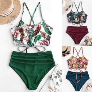 2020 여성의 보헤미안 꽃 수영복 여름 폴리 에스테르 비키니 세트 높은 허리 와이어 무료 수영복 인쇄 녹색 수영복 # 3