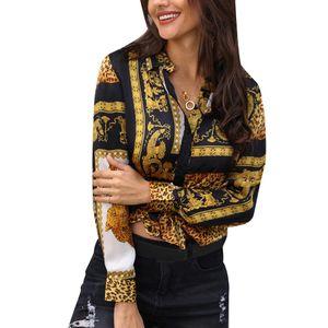 Botón Camisas para mujeres Ropa Piel de leopardo anudadas Turn Down cuello manga larga camisa ocasional floja Boho top de la blusa