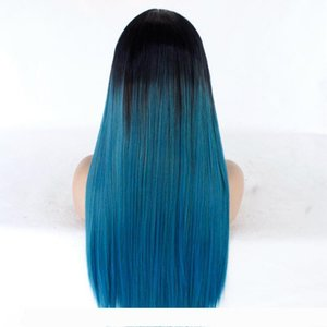 Straight Long Hair Lace Front Wig Ombre Hair Mix Green Blue Synthetic Wig Heat Resistant Fiber Glueless Lace Wigs For Women