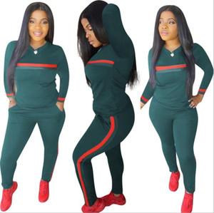 شريط رياضية 2 مجموعة قطعة مجموعة المرأة بلايز البلوز طويل نادي سروال جيوب بذلات ملابس الزي