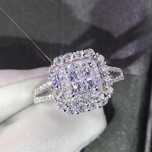 Clássico anel de noivado Set Quadrado, Design, Branco Cubic Zircon Feminino Mulheres Wedding Band CZ Anéis Jóias