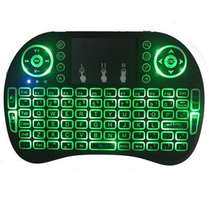 Mini i8 2.4G teclado retroiluminado Fly Air ratón inalámbrico con luz de fondo del panel táctil Controladores de 3 colores remotas Para MXQ Pro X96 TV Box UPS libre de DHL