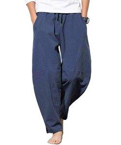 3 couleurs Pantalons Hommes Pantalons Cross-Eté en vrac Hip Hop Cotton Linen Pantalons Casual Salopette Casual Streetwear Mode