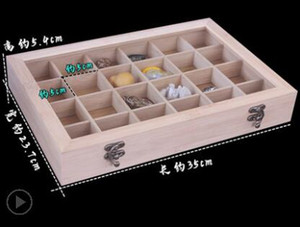 3style Covered bamboo 24 cells box jewelry necklace bracelet wenwan bracelet tray jewelry storage box display shelf With cover D063