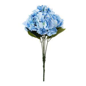 """Artificial flor del Hydrangea 5 grandes cabezas Ramo (diámetro 7"""" cada cabeza) Azul"""