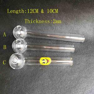12cm 10cm trasparente Pyrex olio bruciatore 2mm di spessore tubo di vetro 25mm OD palla con sorriso per acqua fumo tubo di vetro bong olio rig narghilè gorgogliatore strumento
