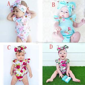 2020 New Baby Flowers Mampers Verano 4 Colores Sumpsuits INS Niños Mangas voladoras Escalada Ropa Con Impresión Floral Diadema C1967
