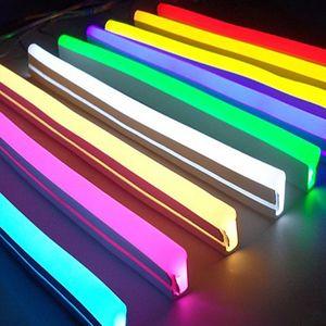 12V 자 네온 불빛 로프 유연한 테이프 소프트 바 실리콘 튜브 방수 LED 스트립 빛 흰색 빨간색 녹색 노란색 핑크 아이스 블루