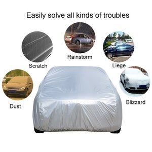 Universal Full Car Covers Snow Ice Dust Sun UV Auto Shade Cover Foldable Light Silver Size S-XXL Car Outdoor Protector Cover