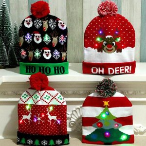 HOT Designs LED Christmas Hats Beanie Sweater Christmas Santa Hat Light Up Knitted Hat for Kid Adult For PartyHkrE#