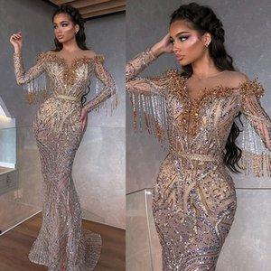 2020 sirène robes de soirée Sheer Jewel Neck perles Paillettes Tassel robe de bal à manches longues Illusion balayage train Parti robe de cérémonie