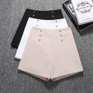 GUMPRUN Women Biker Shorts 2020Summer Fashion Button High Waist Wide leg Commuting Shorts Black White Wild Casual Shorts