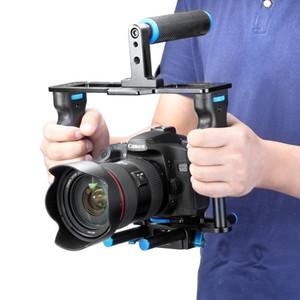 Kit de fabrication de film de film de cage vidéo pour appareil photo en alliage d'aluminium: Cage vidéo + poignée + tige pour Canon5D / 700D / 650D / Nikon / Sony DSLR