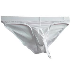 M-XXL Translúcido Sexy Mens Pênis Underwear Ice Silk Ultra-fino dos homens Elefante Nariz Briefs Jockstrap Gay Cueca
