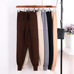 Gigogou Mulheres Harem Pants Casuais Calças Soltas Para As Mulheres Calças De Malha Outono Inverno Cor Sólida Camisola Calças Com Bolsos MX190716