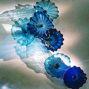 Modern Murano Glass Wall lamps Handmad American Customized LED Flower Wall Lamps for Home Decor Wall Art Blue Shade Decorative Plates