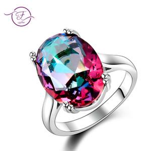 Monili delle donne di modo S925 Silver Ring Mystic Fire Rainbow Topaz Anelli promozione elegante gioielli da sposa anelli regalo del partito