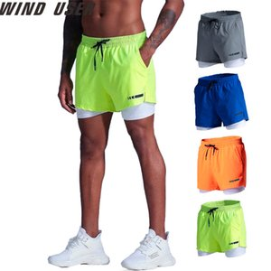 Shorts Men Sports Marathon Track and Pants campo Quick Dry dupla camada anti-exposição Ciclismo Academia Training Shorts