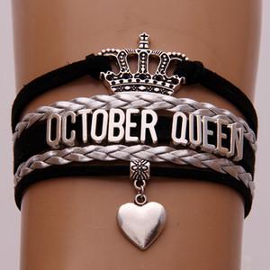 Unendlich Lieber Oktober Königin Armbänder Wrap Seil Schwarz Silber Braid 12 Monate Königin-Armband-Armband-Kronen-Herz-Charme-Schmucksachen