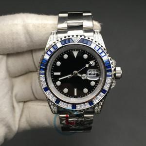 Alta qualità Sub guarda gli uomini dello zaffiro blu nero diamanti Lunetta in acciaio inox 40 millimetri regalo automatico Orologio meccanico