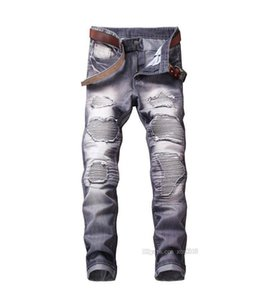 cloth Hot Sale 2018 Spring Autumn New Jeans Street Ripped Jeans Fashion Beggar patch Retro Denim Pants Red Gray Plus size Jeans