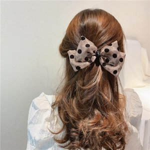 Big Bow Organza Hair Clips Polka Dot Two Layer Butterfly Bow Hair Rubber Bands Hairpins Girl Jewelry Hair Accessories for Women Barrettes