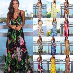 Multicolor tropischen Dschungel Blatt Boho langes Kleid Sling Kreuz zurück Frauen mit V-Ausschnitt Party Night-elegante reizvolle Maxi Sommerkleider