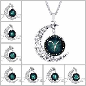 Collares con dijes Joyas de viernes negro Collar de cadena de plata con cabujón de cristal Patrón de estrella Luna Colgante Collar