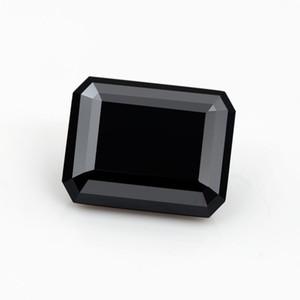 Atacado de Alta qualidade 8 * 10mm 4ct cor esmeralda corte preto gemstone moissanite solto sintético para fazer jóias