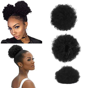 Fashion Curly Ponytail Twins Buns Clip In Elastic Drawstring Ponytail African American Black Short Afro Kinky Curly Hair Extensions