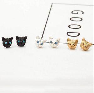 Boucles d'oreilles de la mode Femmes Girl Cadeau Personnalité Mignon Strass Strass Plated Alliage Cat Studing Boucles d'oreilles