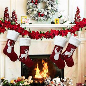 Große Elch-Weihnachtsstrümpfe Geschenk-Taschen Weihnachtsbaum Ornamente Socken Kamin Fall-hängende Weihnachtsdekorationen für Haus JK1910